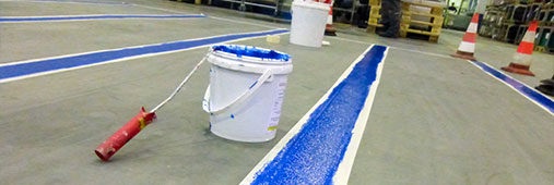 Specialized indoor marking paint and symbols